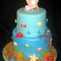 Under The Sea Baby Shower   Fondant sea creatures and baby girl in a gumpaste shell.