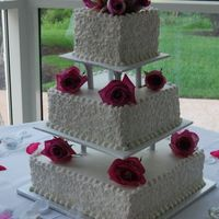 Square Wedding Cake Seperated Tiers Real Roses a friends wedding cake, not my work but wanted to share it