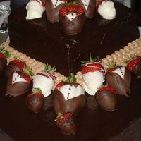 Square Offset Chocolate Ganache Strawberries Grooms Cake did not do this cake, was at a friends wedding,