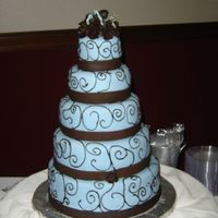 5 Tier Tiffany Blue Chocolate Swirl Fondant Wedding Cake friends wedding cake not done by me