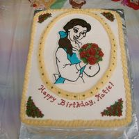 "Belle With Roses  A Belle cake made for my goddaughter who has dairy and nut allergies. Vanilla cake with vanilla ""butter""cream filling, frosting,..."