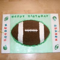 Football Cake For Boy's Birthday  Yellow cake with chocolate filling and chocolate butter cream frosting. Decorations are MMF and molded candy. 3D goal posts are made from...