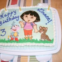 Dora The Explorer, Boots, And Jaguar Birthday  A fbct of Dora the Explorer, Boots the monkey, and Jaguar for a 3 year old birthday. The cake is vanilla with strawberry filling. All...
