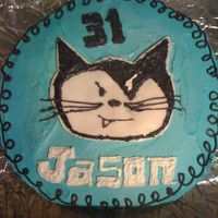 Vanderkitten Racing Logo WASC cake with buttercream icing and candy clay accents