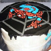 Spiderman Birthday Cake Chocolate cake (Hershey's recipe), chocolate filling, buttercream frosting, rice paper transfer of Spiderman design. I heard the...