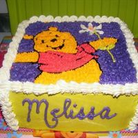 Winnie The Pooh Birthday Cake Vanilla cake, filling with buttercream & smashed fresh strawberries, buttercream frosting. Used edible rice paper to trace Pooh with...