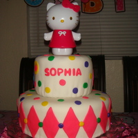 Hello Kitty Made this cake for my daughter's 4rd B-day. She loves Hello Kitty. All fondant, the Hello Kitty is a piggy bank.