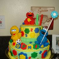 Sesame Street First time doing a cake! Buttercream icing with fondant accents.
