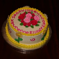 Roses And Daisies  Just as requested - choc cake/strawberry filling/white buttercream with pink roses on top/yellow border and yellow daisies on the side. Can...