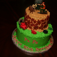 Deer Hunting Lawn Man   90th Birthday cake for a man who loved deer hunting and who had his own lawn business