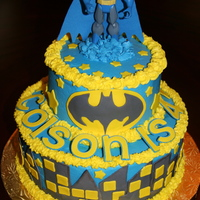 Batman   Batman Cake; accents are handcut gumpaste. Frosted with buttercream.