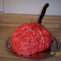 Brains The customer wanted a 'gross' cake for her husbands halloween themed birthday party!