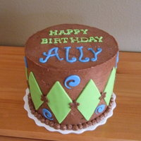 Allys 11Th Birthday 6 inch all chocolate cake! Green & blue fondant accents. Done for a girl who is not a girly girl and does NOT like pink.