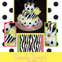 Bailey's Birthday Cake Fondant, 3 tiered black and white cake.