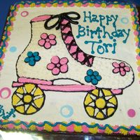 "Roller Skate This was actually a double layer 16"" square cookie that I decorated to look like a cake. It was for my cousin's party at a..."
