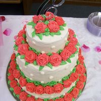 Roses, Roses, And More Roses This was a 3-tier cake for a friend of mine. Inspiration was from a CC contributor! I think there was 66 roses on this cake!!