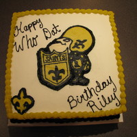 Saints Birthday Party   Birthday party during the Saints' run to their first Superbowl. Frozen buttercream transfer.