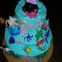 Little Mermaid I made this for my granddaughter's birthday. All buttercream graham cracker sand and iI bought the characters.