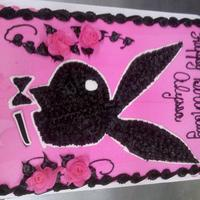 Playboy Bunny 1/2 sheet all buttercream. Freehand drawing