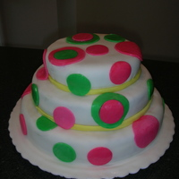 Circles And Dots I made this cake for my cousin's first baby shower. The design matched the nursery blankets and sheets. Cake covered in fondant with...