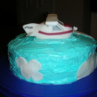 Airplane Sky Cake  The cake is (2) 9 inch cakes covered in tinted frosting. The clouds are fondant. The airplane is fondant shaped into an airplane. The wing...