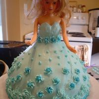 Blue Princess Cake   Use Wilton Classic Wonder Mold. Royal icing flowers and beads, buttercream dress. Made for a friend's niece.