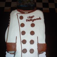 Chef's Coat Cake   Two 9x13 chocolate cakes with peanut butter buttercream in the middle. Buttons are mini reeses cups cut in half