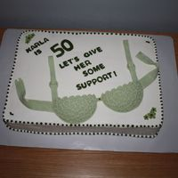 50Th B-Dy Support Cake I made this for my SIL's 50th. Her favorite color is green!! My first attempt at a bra cake. Thank you to everyone for all of the...