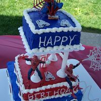 Spiderman Cake   This is all buttercream. I used the official spiderman colors from Wilton.This was only my 3rd cake.