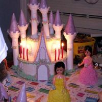 Wilton Castle Cake With Princesses Here is the same cake with candles lit, much better color than the other picture.