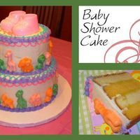 Animals Baby Shower Cake Vanilla and Orange cakes with Orange filling, covered with buttercream frosting. Animals were made using candy molds and colored candy...