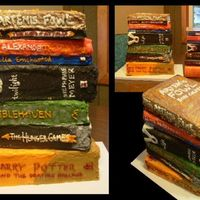 Tower Of Books Some of the greatest kids and young adult books represented in a tower of cake! Cakes were vanilla, chocolate and peanut butter (2 of each...