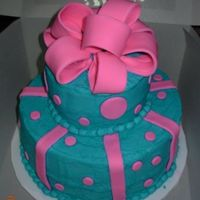Final Cake For Course 3 Iced in BC..bow, stripes and polka dots are fondant.