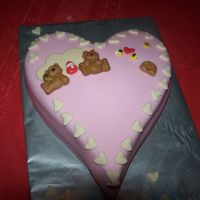 Berry Sweet Heart shaped red velvet filled with cream cheese filling, bears and bees are made from mold.