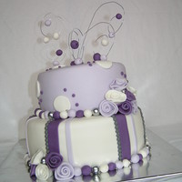 Purple And White Delight I made this cake for an 1st communion.