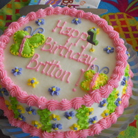 1St Birthday Granddaughter's first birthday....just a small strawberry cake with buttercream filling and frosting