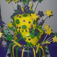 Sweet 16 Mardi Gra This was 1st Topsy-Turvy cake! Also my 1st time using fondant! It was a Mardi Gra party for a Sweet Sixteen Party