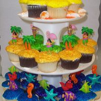 Summer Time   36 cupcakes each tier has differnce summer items , under the sea, aloha theme, and grilling party