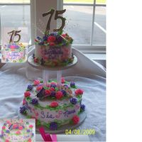 75Th Birthday Cake   this is a 2tiered choc/white cake with buttercream icing