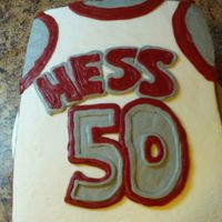 Jersery 1/4 sheet cake made to look like basketball jersery