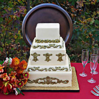 Gold And Ivory Square Wedding Cake