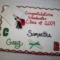 Double Graduation This is a chocolate cake filled with raspberry. The icing is Indydebi's BC and the colors are Sams Club But-R-Cream because I hate to...