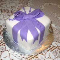 "Wilton Iii Class Cake 6 inch square ""gift box"" cake covered in fondant."