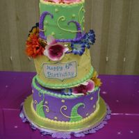 Tinkerbell Goes To Mardi Gras Iced in all buttercream, tinkerbell and her friends wanted to celebrate Mardi Gras...Fairy style! Complete with stars, fondant flower...