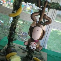 "Monkey Business This cake was for a little 1 year old boy who loves bananas and loves to climb. The monkey was chocolate cake and the ""banana smash..."