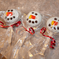 Snowman Pops Made with Oreo Cakesters, White Chocolate, Candy Corn & Mini Morselsgot the idea off of a blog I follow