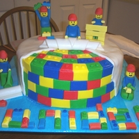 Lego Men At Work 2   Lego men, tools and legos on cake are fondant, legos for name are gumpaste