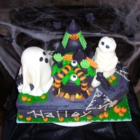 Witch Ghost Mummy Cooking Up Bad Witch Cauldron  Witch, mummy, ghost and cauldron rkt with fondant on top of a double layer 9x13 cake; cut 2 corners off to make it into a coffin. Coffin...