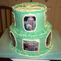 10Th Birthday Photo Cake  This was for my daughters 10th birthday. I found pictures from every year and had it copied on edible paper. Placed photos around the cake...