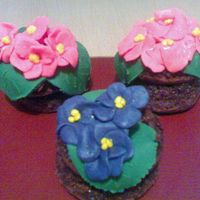 My Flower Cakes They were my mother's day present to my mother.Made with chocolate cake and fondant:-)My first sugar paste cakes.Thanks for looking...